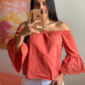 Coral Embroidery Detail Off The Shoulder Loose Top